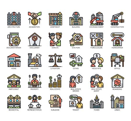 Set of real estate thin line and pixel perfect icons for any web and app project.