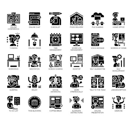 Set of work from home thin line and pixel perfect icons for any web and app project.