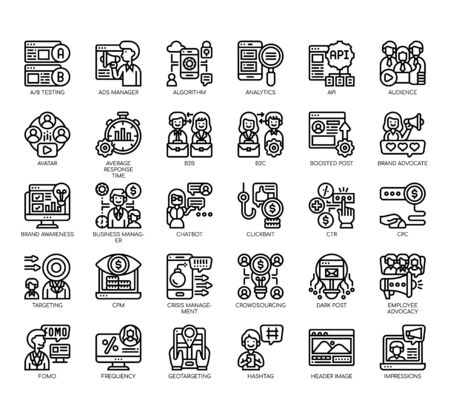 Set of social media strategy thin line and pixel perfect icons for any web and app project. Ilustração