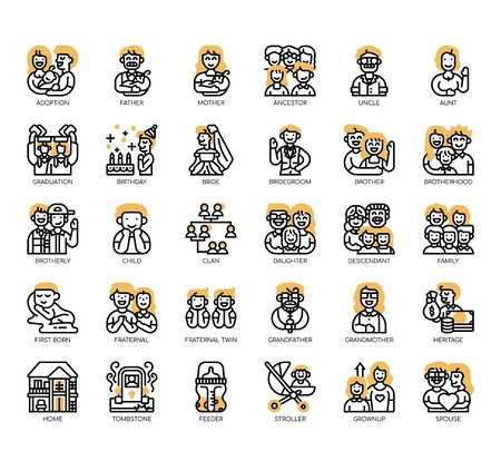 Set of Family thin line and pixel perfect icons for any web and app project.