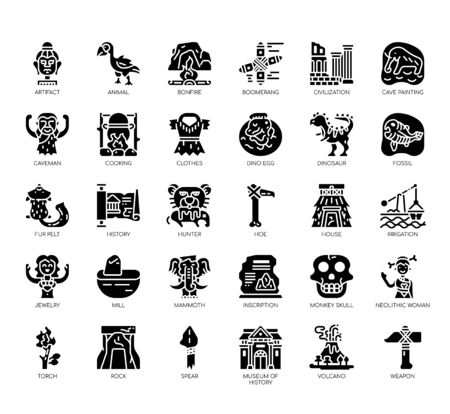 Set of prehistoric thin line and pixel perfect icons for any web and app project. Vektorgrafik