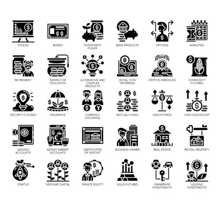 Set of type of investment thin line and pixel perfect icons for any web and app project.