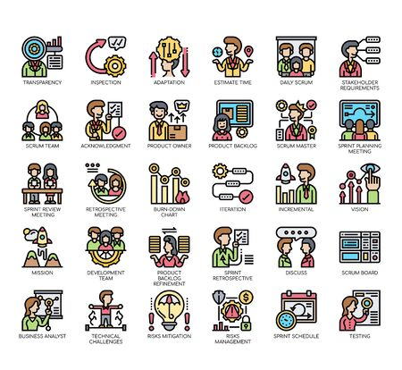 Set of scrum process thin line and pixel perfect icons for any web and app project.