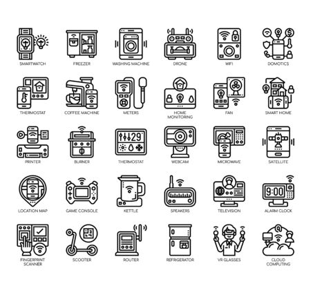 Set of internet of things thin line and pixel perfect icons for any web and app project. 向量圖像