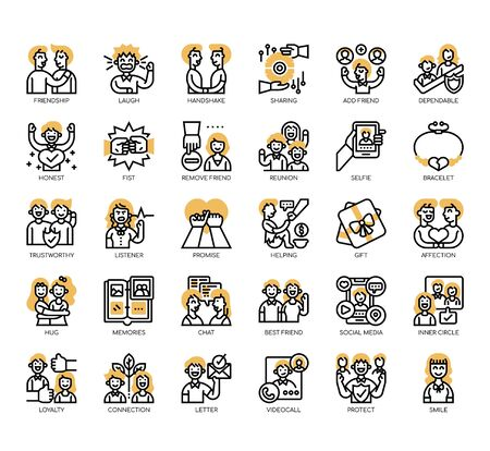 Set of friendship thin line and pixel perfect icons for any web and app project. Ilustração