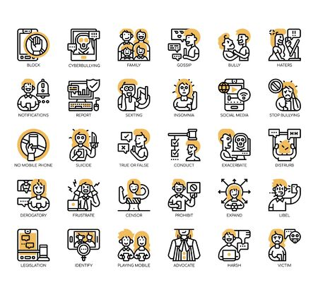 Set of cyberbulling thin line and pixel perfect icons for any web and app project. Ilustração