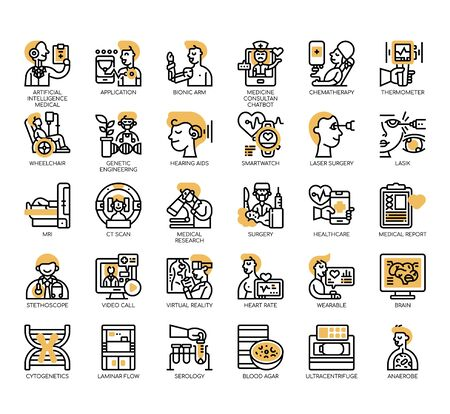 Set of medical technology thin line and pixel perfect icons for any web and app project.