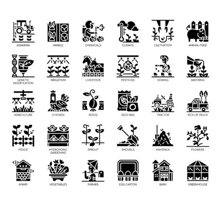 Set of agriculture thin line and pixel perfect icons for any web and app project.