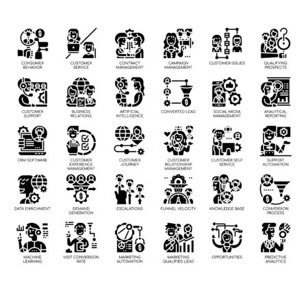 Set of customer relationship management thin line and pixel perfect icons for any web and app project.