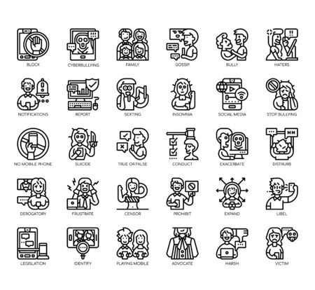 Set of cyberbulling thin line and pixel perfect icons for any web and app project. Illustration