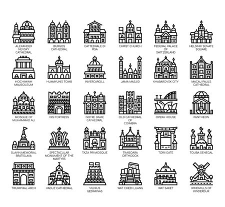 Set of landmark thin line and pixel perfect icons for any web and app project. Illustration