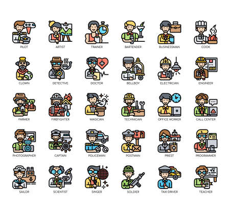 Set of male occupation thin line and pixel perfect icons for any web and app project.