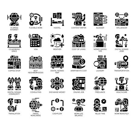 Set of digital nomad thin line and pixel perfect icons for any web and app project.