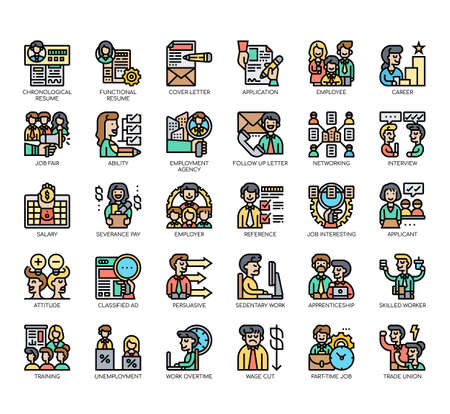 Set of job search thin line and pixel perfect icons for any web and app project. Illustration