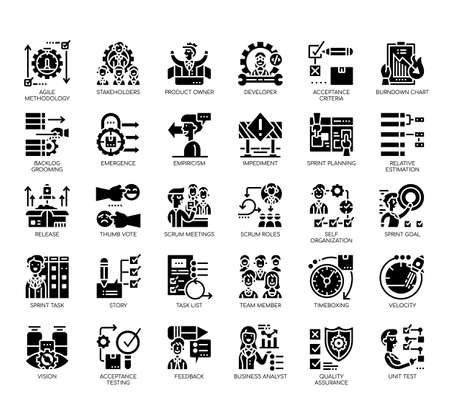 Set of agile methodology thin line and pixel perfect icons for any web and app project.