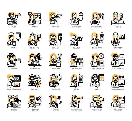 Set of female occupation thin line and pixel perfect icons for any web and app project.