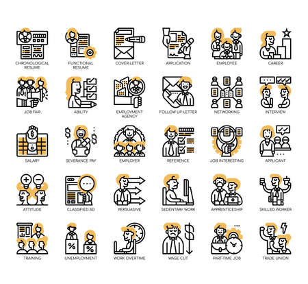Set of job search thin line and pixel perfect icons for any web and app project. Ilustração