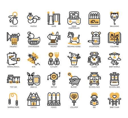 Set of kindergarden thin line and pixel perfect icons for any web and app project.
