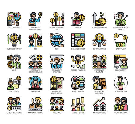 Set of business management thin line and pixel perfect icons for any web and app project. Vecteurs
