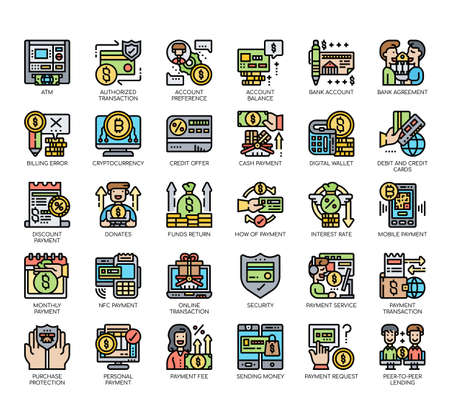 Set of payment thin line and pixel perfect icons for any web and app project.
