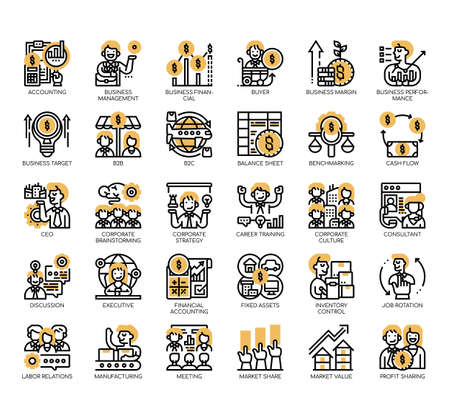 Set of business management thin line and pixel perfect icons for any web and app project.