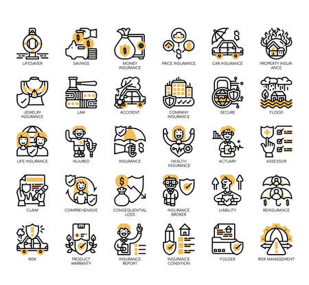 Set of insurance thin line and pixel perfect icons for any web and app project. Illusztráció