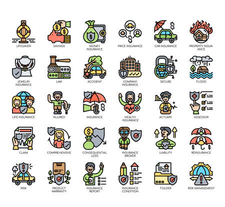 Set of insurance thin line and pixel perfect icons for any web and app project. Stock Illustratie