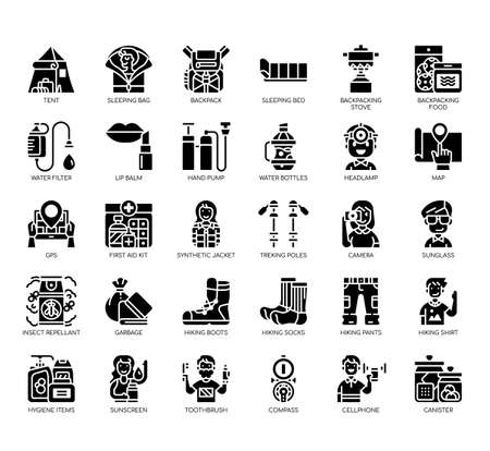 Set of backpacker thin line and pixel perfect icons for any web and app project.