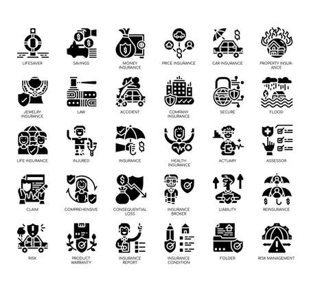 Set of insurance thin line and pixel perfect icons for any web and app project. Ilustração