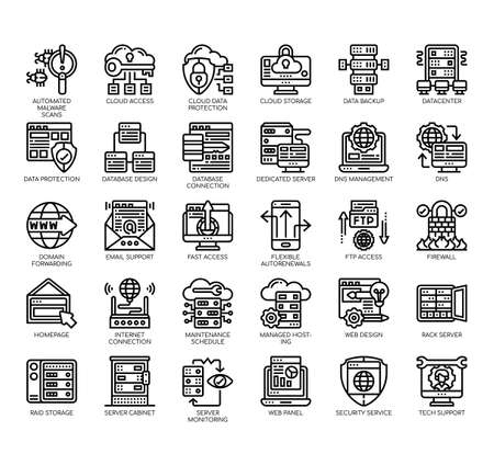 Set of web hosting thin line and pixel perfect icons for any web and app project.