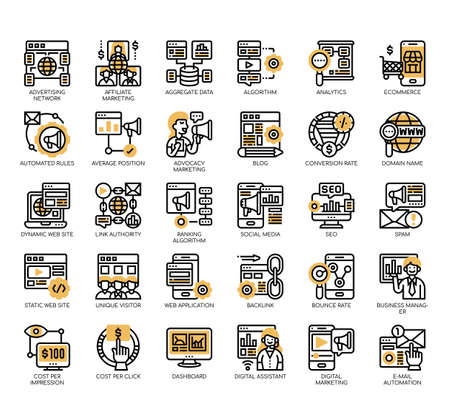 Set of online marketing thin line and pixel perfect icons for any web and app project.