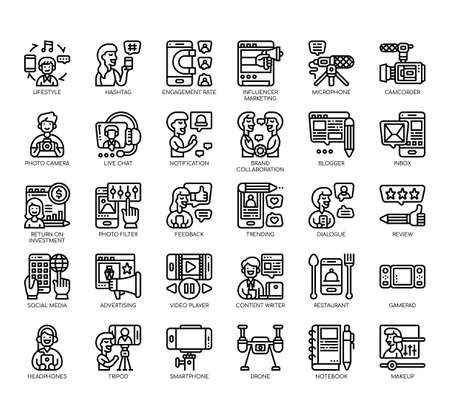 Set of blogger and influencer thin line and pixel perfect icons for any web and app project.