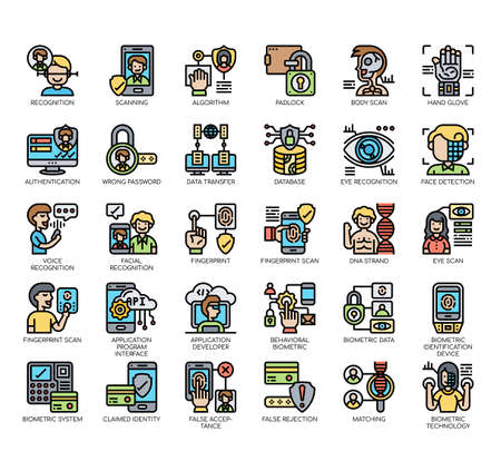 Set of biometric thin line and pixel perfect icons for any web and app project.
