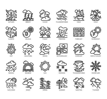 Set of weather thin line and pixel perfect icons for any web and app project. Stock Illustratie