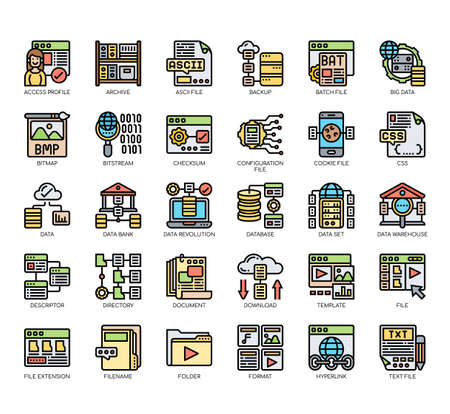 Set of file and document thin line and pixel perfect icons for any web and app project.