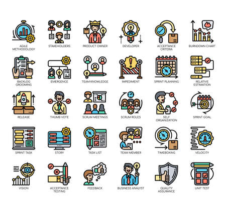 Set of agile methodology thin line and pixel perfect icons for any web and app project. Vektoros illusztráció