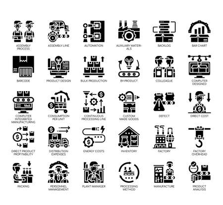 Set of industrial process thin line and pixel perfect icons for any web and app project.