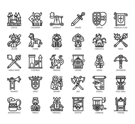 Set of medieval thin line and pixel perfect icons for any web and app project.