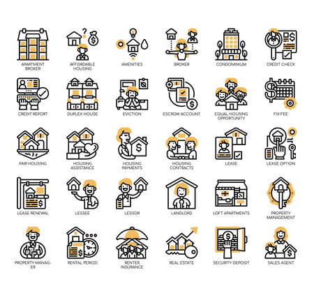 Set of rental property investing thin line and pixel perfect icons for any web and app project.