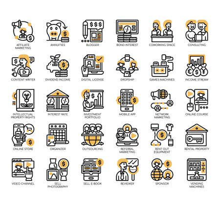 Set of passive income thin line and pixel perfect icons for any web and app project.