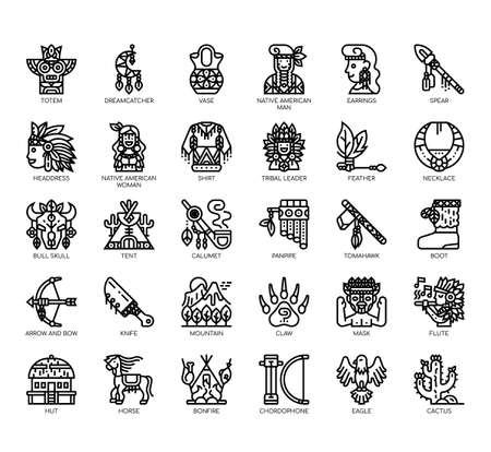 Set of native american thin line and pixel perfect icons for any web and app project.
