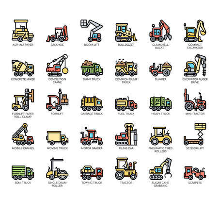 Set of construction vehicle thin line and pixel perfect icons for any web and app project.
