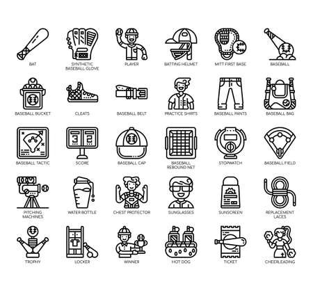 Set of baseball thin line and pixel perfect icons for any web and app project.