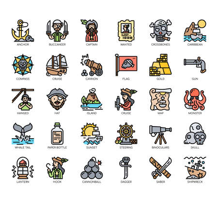 Set of pirate thin line and pixel perfect icons for any web and app project.