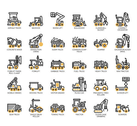 Set of construction vehicle thin line and pixel perfect icons for any web and app project. Ilustracje wektorowe