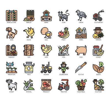 Set of farming thin line and pixel perfect icons for any web and app project. Иллюстрация