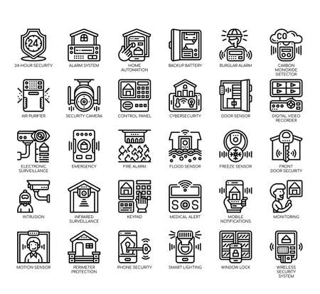 Set of home security thin line and pixel perfect icons for any web and app project.