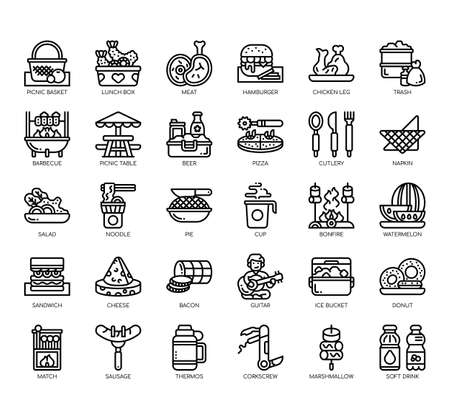 Set of picnic thin line and pixel perfect icons for any web and app project.