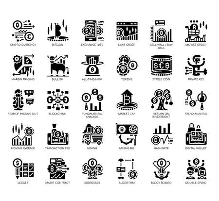 Set of cryptocurrency thin line and pixel perfect icons for any web and app project. Vector Illustration