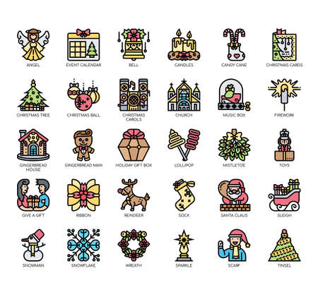 Set of christmas thin line and pixel perfect icons for any web and app project. Vectores